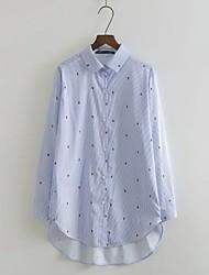 Для женщин На выход На каждый день Осень Зима Рубашка Рубашечный воротник,Простое Уличный стиль Горошек Полоски Цветочный принтДлинный