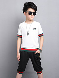Boys' Casual/Daily Solid Sets,Cotton Rayon Summer Short Sleeve Clothing Set