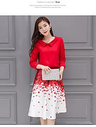 2017 новая красный лепесток печать рубашки платья из двух частей юбки