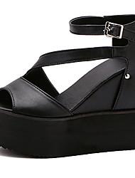 Sandals Summer Gladiator PU Dress Wedge Heel Buckle Black