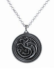 Men's Women's Pendant Necklaces Jewelry Circle Animal Shape Dragon Alloy Circular Unique Design Logo Style Dangling Style Costume Jewelry