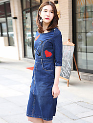 Europe station ladies 2017 new wave of retro embroidered sleeve dress Slim package hip denim skirt