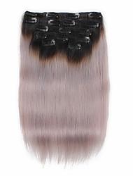 7 pcs / set 1b / серый цвет ombre от черного до серого зажим в выдвижениях волос человеческие волосы 14inch 18inch 100%