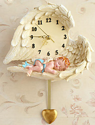 Modern/Contemporary Houses Resin Wall Clock European Angel Wall ClockNovelty Polyresin Indoor Clock