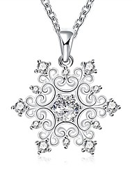 Women's Pendant Necklaces Chain Necklaces AAA Cubic Zirconia Zircon Cubic Zirconia Copper Silver Plated FlowerBasic Unique Design Flower