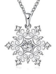 Женский Ожерелья с подвесками Ожерелья-цепочки Цирконий В форме цветка Геометрической формы Циркон Цирконий Медь Серебрянное покрытие