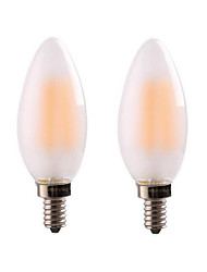 2PCS 4W E12/E14 Frosted Glass  LED Filament Bulbs C35 4COB 300-350lm Warm White Dimmable AC 220-240 AC 110-130 V