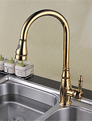 Antique Standard Spout Vessel Widespread Pullout Spray with  Ceramic Valve Single Handle One Hole for  Ti-PVD , Kitchen faucet