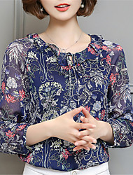 Fashion Round Neck Long Sleeves Flower Printing Chiffon Upper Outer Garment Daily Leisure Party Dating Occupation OL Shirt