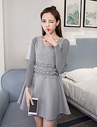 nueva cintura del vestido de manga larga coreano era invierno delgada de lana falda larga de punto de apoyo femenino