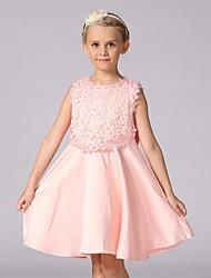 бальное платье длина колена цветок девушка платье - органза без рукавов жемчужина шея с лук (ов) по ydn