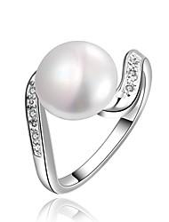 Ringe Party Besondere Anlässe Alltag Normal Schmuck Künstliche Perle Zirkon Kupfer vergoldet Ring 1 Stück,7 8 Silber