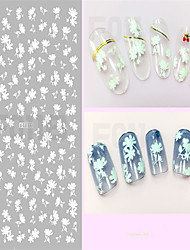1pcs White 3D Nail Stickers Beautiful Flower&Bow-knot Nail Art Design Covenient Nail Art Tips F011-018