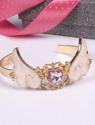 Bracelete Cristal Cristal Chapeado Dourado Liga Amizade Moda Formato de Coração Asas / Penas Roxo Claro Rosa claro Jóias 1peça