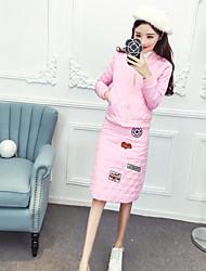 Zeichen 2016 Art und Weise europäisches Bein und weise stickte Buchstaben komprimiert Baumwollbaseballjacke + Röcke Anzüge