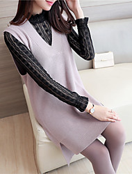 знак # 4426 осенние и зимние модели дна свитер половина высокий воротник из двух частей v-образным вырезом длинный вязаный жилет юбка