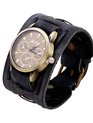 Women's Men's Fashion Watch Quartz Genuine Leather Band Black Brown