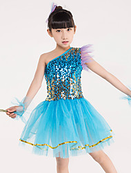 Children's Ballet Dance Dress Performance Polyester Splicing 4 Pieces Sleeveless Bracelets Headpieces Green/Blue Kid's Dancewear