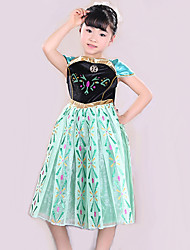 Children's Ballet Dance Dress Performance Polyester Splicing Print 1 Pieces Short Sleeve Dress Green Kid's Dancewear