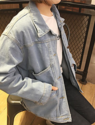 Sign 2017 new Korean wild simple double pocket casual loose Washed denim jacket tide