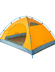 3-4 persons Tent Double Fold Tent One Room Camping Tent <1000mm Fiberglass Polyester OxfordWaterproof Rain-Proof Windproof Foldable