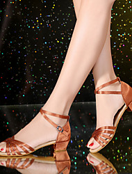 Non Customizable Kids' Dance Shoes Satin Leatherette Latin Sandals Heels Sneakers Full Sole Low Heel Indoor