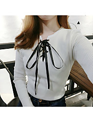 2017 new long-sleeved sweater lace V-neck sweater sexy woman Sign