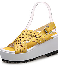 Women's Sandals Summer Fall Creepers Comfort PU Athletic Casual Wedge Heel Buckle Flower Walking