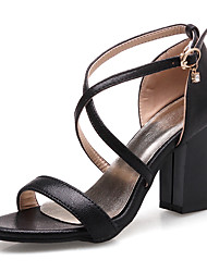 Sandals Spring Summer Fall Slingback Club Shoes Gladiator Leatherette Party & Evening Dress Casual Chunky Heel BuckleBlack Pink Silver
