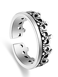 Ring Party Special Occasion Casual Jewelry Silver Plated Crown Shape Ring 1pcAdjustable Silver