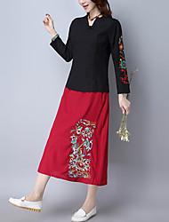 Röcke,A-Linie Blumen Bestickt,Lässig/Alltäglich Vintage Chinoiserie Mittlere Hüfthöhe Midi Elastizität Baumwolle Leinen Unelastisch