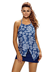 Women's Asymmetric Split Front Halter Tankini Swim Top