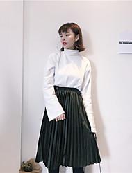 Zeichen 2017 Frühjahr neue koreanische Samt Taille elastische Taillenröcke plissiert A-Linie Kleid
