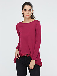 Women's Going out Simple Street chic Blouse,Solid Round Neck Long Sleeve Cotton Rayon Medium