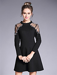 Women's Plus Size Party/Cocktail Club Sexy See Through Vintage Sophisticated A Line Sheath DressSolid Patchwork Beaded Mesh
