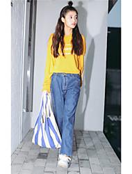 signent une nouvelle taille korean était mince jeans bordure suspendus pantalons entrejambe pantalons effondrement femme