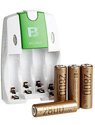fb fb-18 aa batterie rechargeable à hydrure métallique de nickel 1.2V 2800mAh 4 paquet
