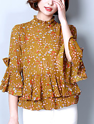 Women's Plus Size Going out Work Street chic Spring /Summer Slim Blouse Print Stand Flare Sleeve 3/4 Sleeve Ruffle Blue /Brown Polyester Medium