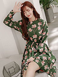 Model real shot in autumn and winter retro big flower waist satin long-sleeved dress big picture links