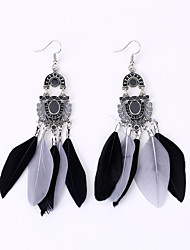 Europe And The United States To Restore Ancient Ways Fan Earrings Fashion National Wind Feather Earrings Long Earrings