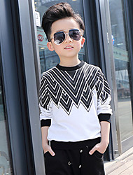 Boy's Going out Casual/Daily Holiday Print Patchwork Tee Cotton Spring Fall Long Sleeve Blouse Regular Children's Garments