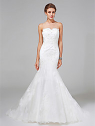 Lanting Bride® Fit & Flare Wedding Dress Sweep / Brush Train Jewel Lace / Satin with Appliques / Beading / Button