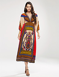 Women's Casual / Day / Boho Print Swing Dress , V Neck Maxi Silk Beach Dress