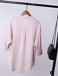 camisa de algodão de mangas compridas fã coreana feminina Kuan Songxia forro de colarinho casuais coreano minimalista fina dupla bolso