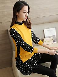 simbolo # 4434 lunghi tratti 2017 primavera pullover allentato camicia colletto della camicia due falsi femminile maglione