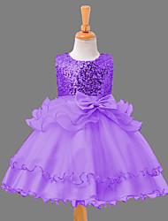Princess Knee-length Flower Girl Dress - Organza Satin Sequined Jewel with Bow(s) Cascading Ruffles Sequins