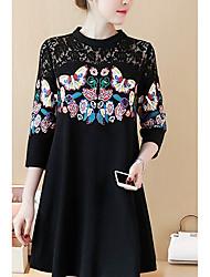 unterzeichnen 2017 neue Frauen&# 39; s Größe Frauen Fett mm Spitzen Nähen Schmetterling Blume Frühling war dünn ein Wort Rock Kleid