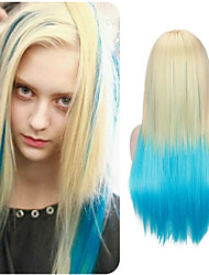 Trendy Fashion Blonde Blue Two Tone Color Ombre Wig Heat Resistant High Temperature Daily Hairstyle for European and American Girl