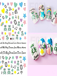 1pcs Lovely Cartoon Image Design Diamond Love Heart Beautiful Flower Nail Art 3D Sticker Nail Beauty Nail Art Tips Decoration F031-040