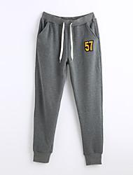 Mujer Sencillo Activo Tiro Medio Micro-elástica Chinos Pantalones de Deporte Pantalones,Corte Ancho Un Color